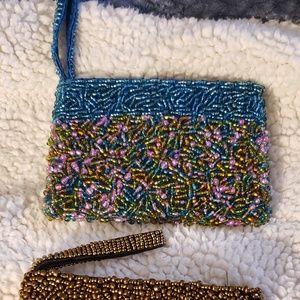 Handbags - Set of 2, seed bead wristlet wallets